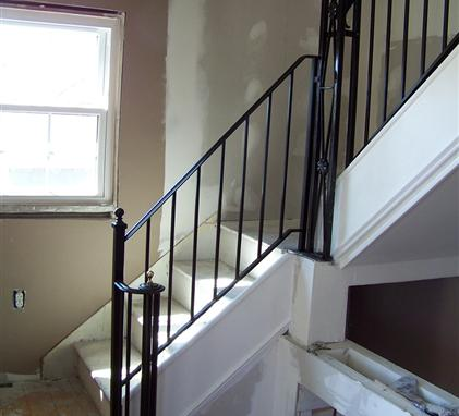 Wrought iron railings pipe railing south jersey custom for Interior iron railing designs